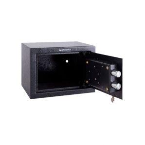 Caja fuerte sobreponer Serie Forma C Gama Alta con cerradura de llave y combinación electrónica abierta